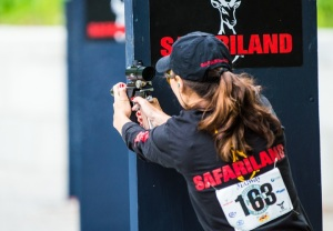 Diana Hufstedler shooting the Barricades Event at the 2013 MidwayUSA NRA Bianchi Cup