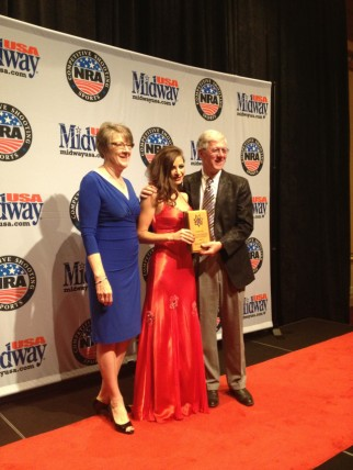 Receiving my First Time Shooter Award from Larry & Brenda Potterfield at the NRA MidwayUSA Bianchi Cup